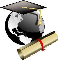 drawing of globe and diploma