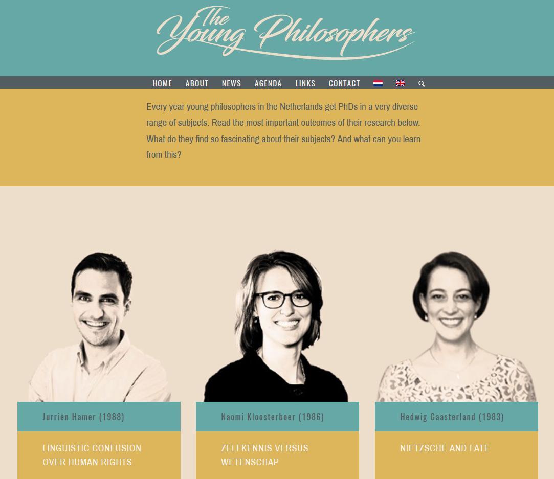 Screenshot van de Young Philosophers website